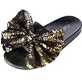 H2K Women's Slide Slipper with Sequin Bow, 10, Gold