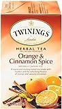 TWININGS OF LONDON ORANGE AND CINNAMON SPICE HERBAL TEA, COUNT 20, PACK OF 6