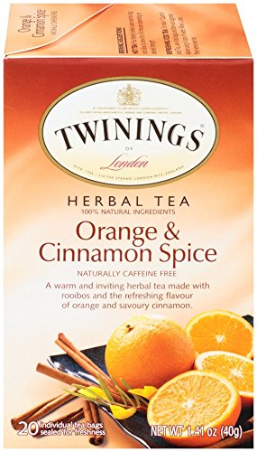 TWININGS OF LONDON ORANGE AND CINNAMON SPICE HERBAL TEA, COUNT 20, PACK OF 6 (Green Twining Bags Tea)