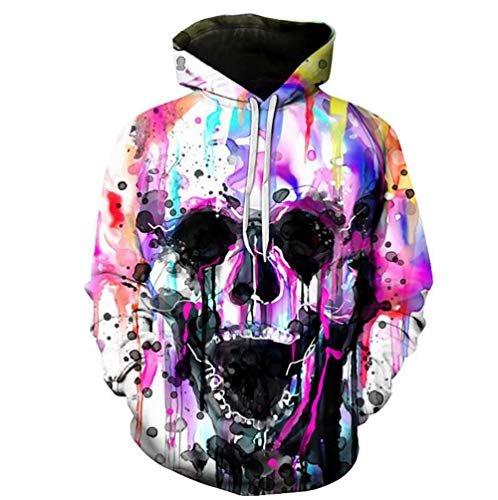 Unbekannt Hoodie Ink Mixed Color Skull 3D Graphic Pullover Long Sleeve Jumpers Casual Sweatshirt Outerwear,XXL