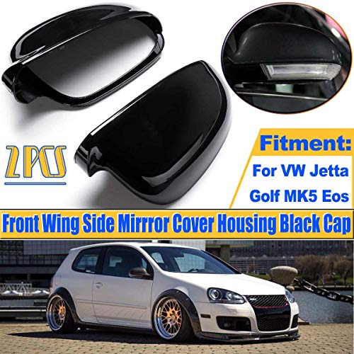 Transport-Accessories - 1 Pair ABS Black Mirror Cover For Volkswagen For VW Jetta Golf MK5 Eos Pair Front Wing Side Mirror Cover Shell Housing Cap