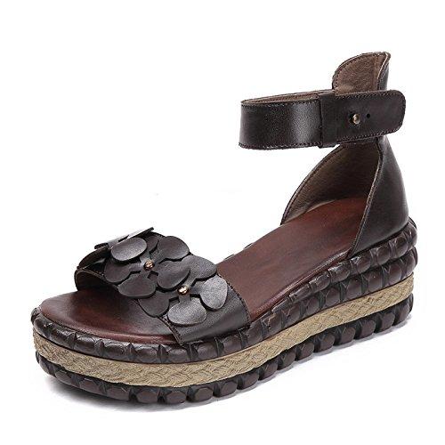 35 señoras Sandalias Casuales Las 40 DANDANJIE de de Verano de Sandalias Abierta Zapatos caseros Zapatos de cuña Marrón tamaño tacón Romanas Punta Flores tdqqUxaw