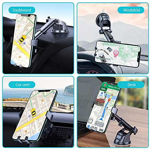Phone Car Holder, Phepten Car Mount Cradle with Long Arm, 360 Adjustable, Anti-Shake Stabilizer, Strong Suction Cup for Dashboard Windshield, Car Air Vent Compatible with Smartphone -Black
