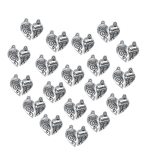 40pcs Silver Engraved Stainless Steel Best Friend Love Pendant Necklace Jewelry Set 24 23mm - Best Friend Costumes Diy