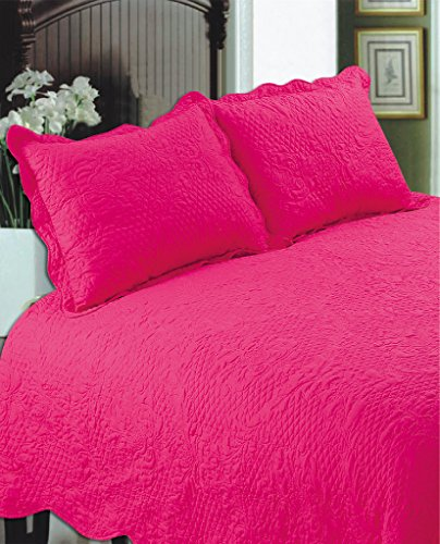 ALL FOR YOU 2PC Quilted Pillow Shams-Standard Size-hot Pink Color (Pink Shams Light)