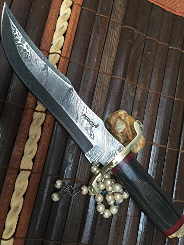 Perkin | 12 Inch Razor Sharp Fixed Blade Damascus Steel Bowie Knife | Full Tang Blade W/A High Grade Leather Sheath| Designed for Hunting, Survival, Skinning, Camping & Self Defense | by Perkin (Image #4)