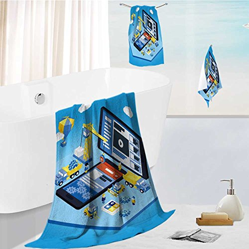 Premium quality 100% Cotton Super Soft flat d isometric mobile design web infographic concept vector crane people creating interface on Uber Absorbent and Fluffy 3 Piece Towel Set ()