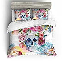 BOMCOM 3D Digital Printing Watercolor Skull Flowers and Tribal Native Indian Feather Headdress Series 3Piece Duvet Cover Sets 100% Microfiber Designs (queen, bright background)