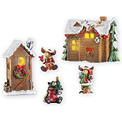 Collections Etc Woodland Cabin Moose Christmas Village Set
