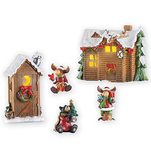 Woodland Cabin Moose Christmas Village - Christmas Moose Lighted
