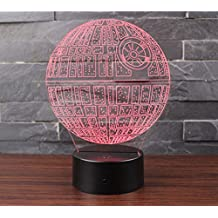 3D Illusion Night Light LED Desk Table Lamp 7 Color Touch Lamp Art Sculpture Lights Birthday Gift for Kids Bedroom Decor (Death Star)