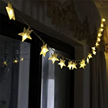 LeMorcy LED Star String Lights, 40LED 13ft 3AA Battery Powered Fairy Lights, Decor Rope Lights with 2 Modes Battey Box For Home, Gardens, Lawn, Patio, Weddings, Parties (Warm White)