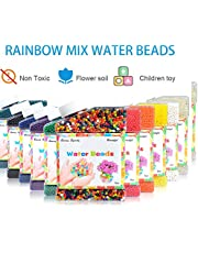 RuleaxAsi 30000pcs Water Beads Rainbow Mix Crystal Soil Non-Toxic Bottled Package for Inside Decoration Air Fresh Children Toy