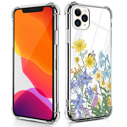 RicHyun Girly Flower Case for iPhone 11 Pro, Clear Wildflower Floral Pattern Soft Flexible TPU Shockproof Cases for iPhone 11 Pro 2019
