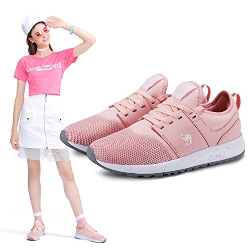 (Camel Mens Casual Walking Running Shoes Comfortable Lightweight Breathable Shockproof Fashion Sports Sneakers Athletic(Pink,8D))