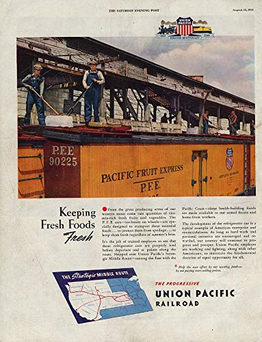 Express Reefer (Keeping Fresh Foods Fresh Union Pacific RR Fruit Express reefers ad 1944 SEP)
