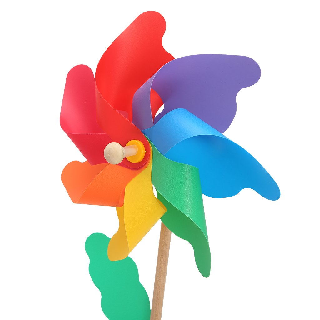 jigang 1 Pc Colorful Garden Wood Windmill Wind Spinner Pinwheels Kids Outdoor Flying Toys For Flower Bed Plant Pot Ornament Art Decoration 24cm