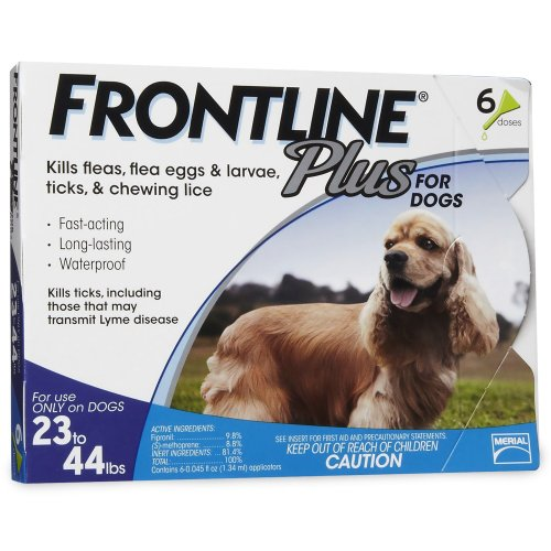 Frontline Plus Flea and Tick Control for Dogs, 23-44 lbs. 6 MO. SUPPLY