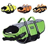 Wellver Dog Life Jacket Pet Life Preserver Saving Vest with Reflective Strips,XLarge,Green