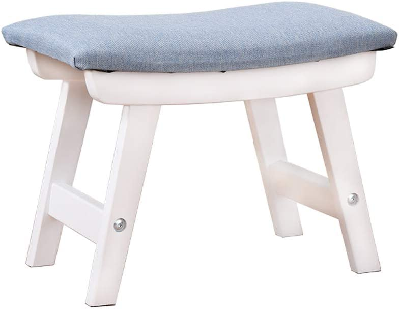 Solid Wood Pouf Stool Simple Ottoman Fabric Footstool Nordic Small Furniture Fabric Footstool Shoe Bench Sofa unassembled (White)