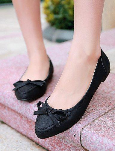 PDX zapatos cn39 uk6 rosa piel sintética black plano de blanco talón amarillo de negro eu39 mujer us8 punta Toe Flats Casual w4FrwAq