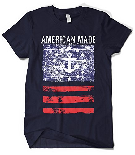 Cybertela Men's American Made Faded Anchor Flag T-shirt (Navy Blue, ()