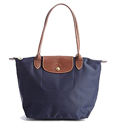 352dc628d5 Amazon.com: Longchamp Le Pliage Nylon Medium Shoulder Tote in Navy ...