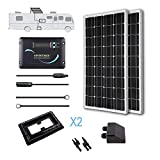 Renogy 200 Watts 12 Volts Monocrystalline Solar RV Kit -- with Adventurer Negative Grounded Controller & Corner Bracket Mounts