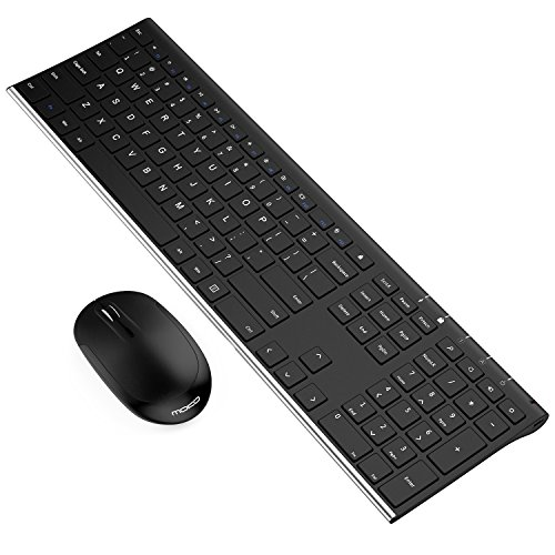 MoKo Slim 2.4G Keyboard + Mouse, Ultra Thin Universal Rechargeable Full-Size Wireless Keyboard & Mouse Combo Set, for Laptop/Desktop/PC/Notebook/Computer - Black & Silver