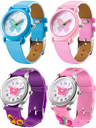 (Tatuo 4 Pieces Watch for Girls Kids, Little Girls Watches Cute Cartoon Wrist Watches for Child Kid 3D Silicone Band Time Teacher)