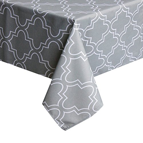 ColorBird Elegant Moroccan Tablecloth Waterproof Spillproof Polyester Fabric Table Cover for Kitchen Dinning Tabletop Decoration (Rectangle/Oblong, 52 x 70 Inch, Grey)