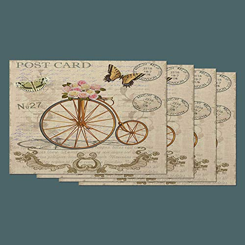 Moslion Letter Place Mats Set of 4. Vintage Postcard with Flowers Butterfly Old Bicycle Cotton Linen Placemats 12x18 Inch for Dinner Kitchen Table Dining Room