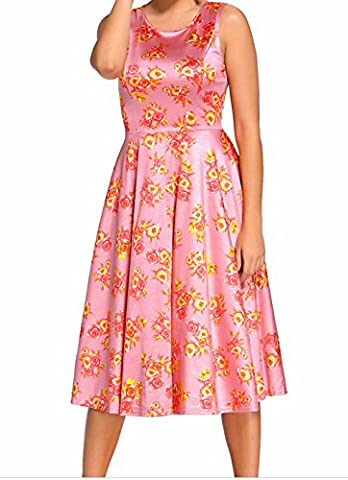 YeeATZ Digital Floral Vintage Swing Dress(Pink,M) (201 Daily Planner)