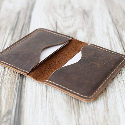 Leather Holder Business Card Case (Men's Handmade Slim Leather Wallet Credit Card Holder Slim Wallet Italy oiled Leather (Hold 30 pics of cards)(Distressed Brown)110)