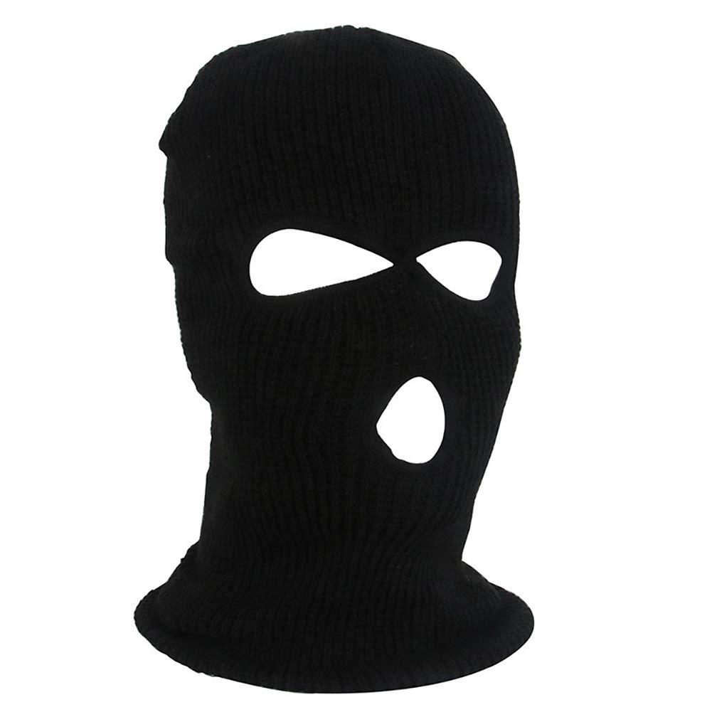 yanbirdfx Army Tactical Winter Warm Ski Cycling 3 Hole Balaclava Hood Cap Full Face Mask - Black