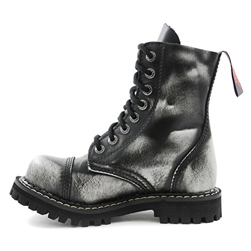 ANGRY ITCH - 8-Loch White Rub-Off Gothic Punk Army Ranger Armee Leder Stiefel mit Stahlkappe