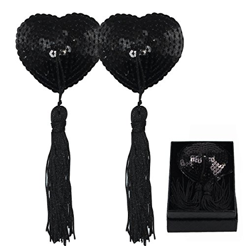 (Heart Pasties Adhesive Nipple Cover, Reusable Pasties Bra with Tassel (Black) ...)