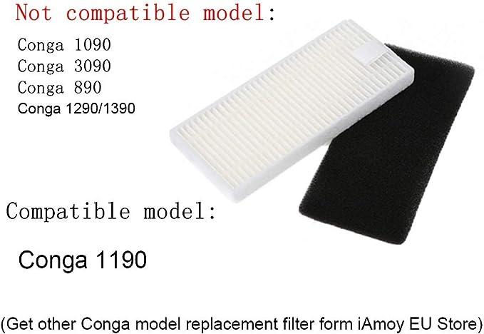 Amoy Kit de Filtro y Cepillo Lateral Reemplazo Compatible Conga 1190 Conga Excellence 990 Robot Aspirador: Amazon.es: Hogar