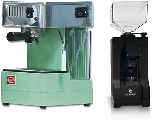 La Gondola 0820 - Juego de cafetera de espresso Quick Mill en verde y molinillo de café Eureka fabricado en Italia: Amazon.es: Hogar