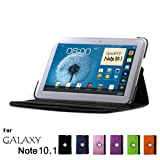 Samsung Galaxy Note 10.1 Case, GMYLE(R) Folio Case 360 for Samsung Galaxy Note 10.1 N8000 - Black PU Leather 360 Degree Rotating Swivel Folio Case Cover (With Adjustable Multi Angle Stand)