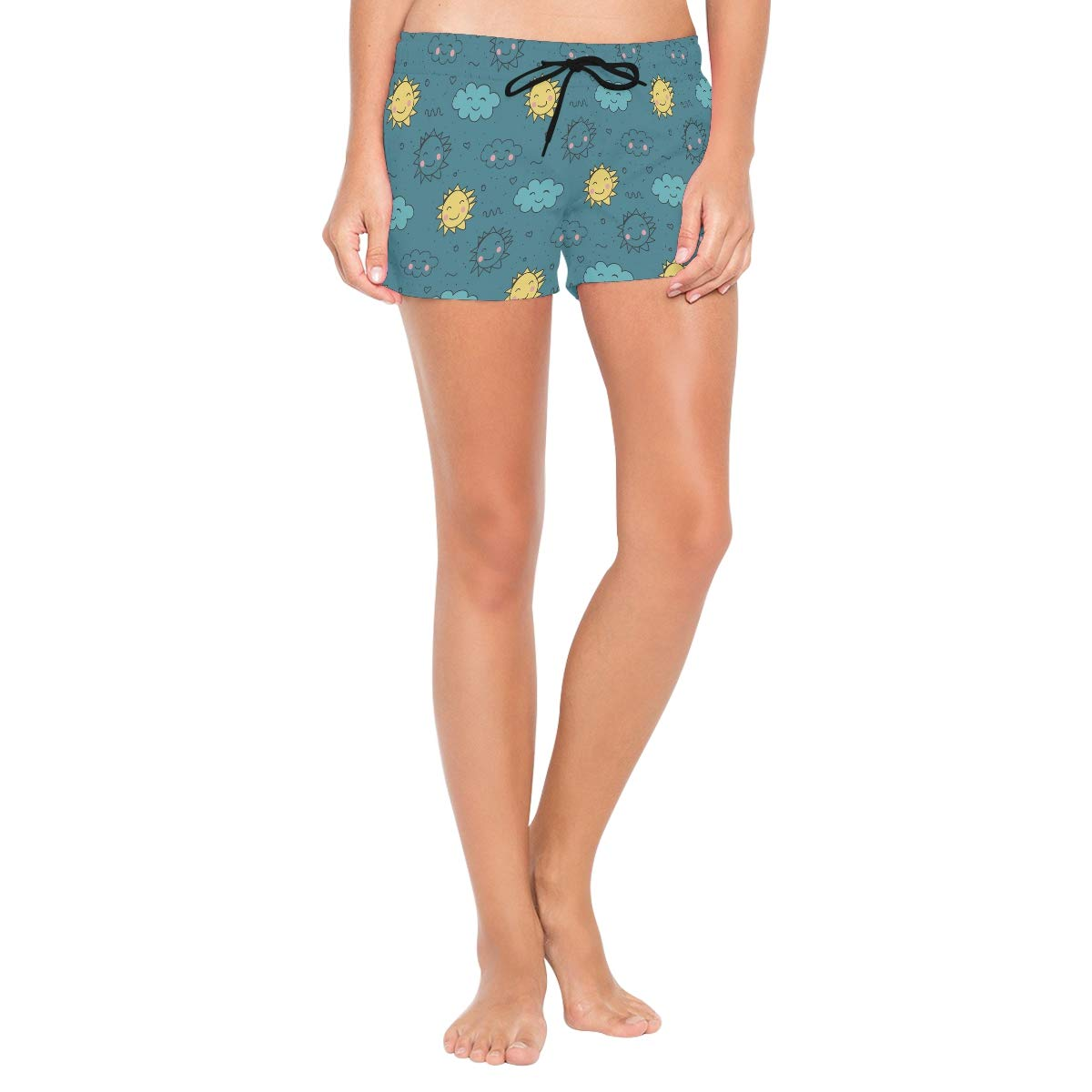 Women Swim Trunks Yellow Blue Sun Cloud Doodle Pattern Beach Board Shorts