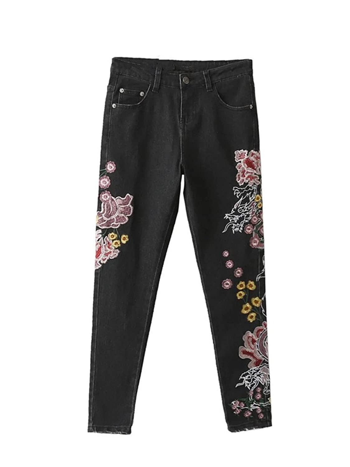 Women's Flowery Embroidery Embellished Skinny Fit Denim Washed Jeans Black