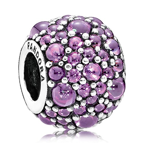 Pandora Sterling Silver 925 European Charm Shimmering Droplets Fancy Purple CZ
