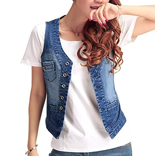 Jade Hare Women's Cotton Button Up Short Slim Denim Vest Sleeveless Jean Waistcoat Jacket (Dark Blue02, Medium)