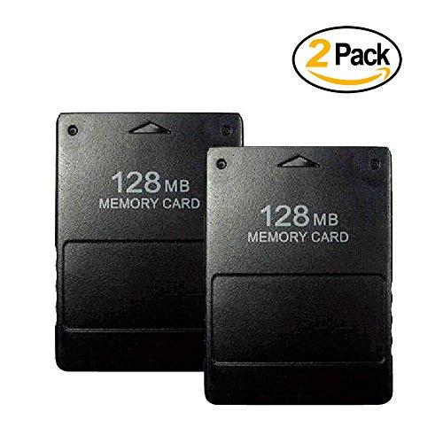 Techinthebox 2 Pack Playstation 2 PS2 Memory Card 128MB-Black
