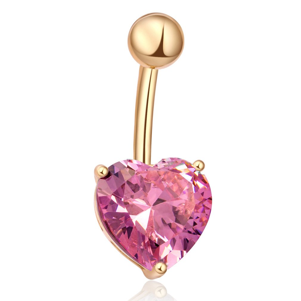 Fashion Women Body Piercing Jewelry 14G Hypoallergenic Stainless Steel Cubic Zirconia Belly Button Ring Navel Rings Shiny Love Heart Gold With Light Rose
