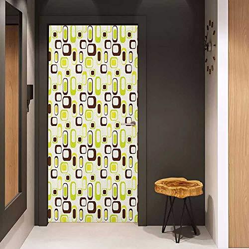 Onefzc Door Sticker Mural Geometric Nostalgic Sixties Vibes Abstract Shapes Vibrant Figures WallStickers W38.5 x H77 Apple Green Chestnut Brown Cream ()