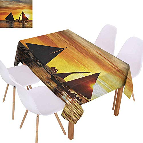 Elegance Engineered Tablecloth Sailboat Sailing to Sunset Boracay Island Evening Vacation Romantic Water Sports Soft and Smooth Surface W60 xL84 Marigold Dark Orange