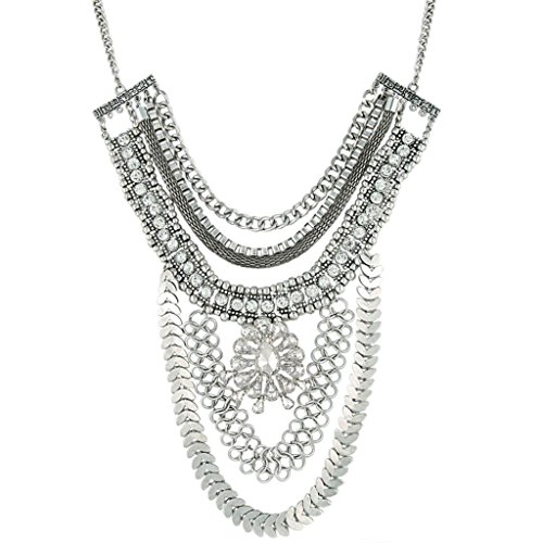 Floral Vintage Bib (BriLove Women's Punk Crystal Vintage Inspired Floral Multi Layers Dangle Bib Necklace Antiqued Silver-Tone)