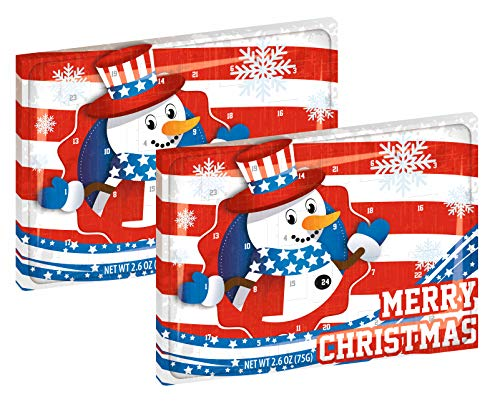 Large American Chocolate Advent Calendar | Patriotic Christmas Chocolate for Advent | 75g of Chocolate for 24 Days of December (Pack of 2)